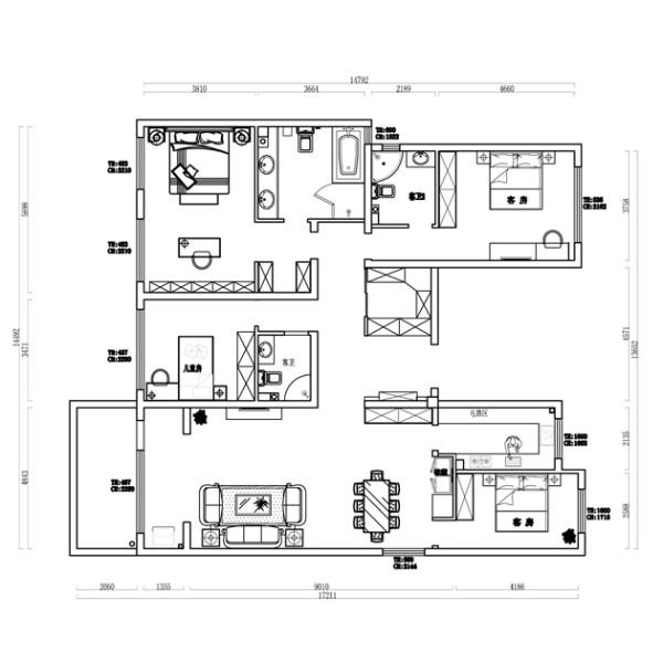 业之峰装饰为东胜紫御府做的四居室220平米的欧式客厅设计图 户型图