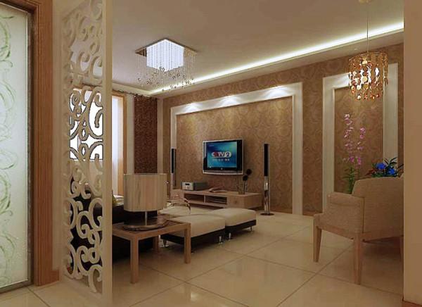 电视背景墙采用全壁纸白色简约的木质相框,深咖色与白搭配的沙发,与电视背景相互呼应。
