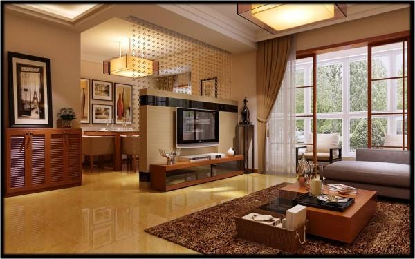 鑫苑世家三居室平层简约风格装修效果图 客厅装修效果图