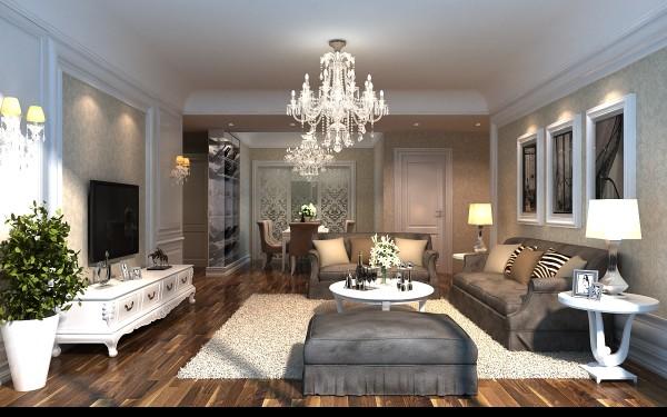 客厅:地面多层实木地板,电视背景墙护墙板造型中贴无纺布壁纸,与仿古砖相结合,使电视墙视觉成为整体,大气自然。沙发后采用简单线条搭配壁纸舒适典雅。