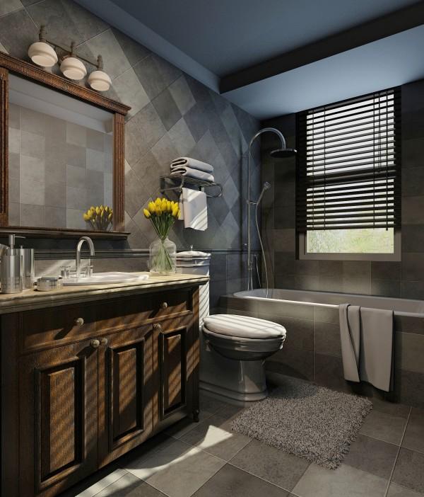 卫生间:采用仿古砖简欧洁具。