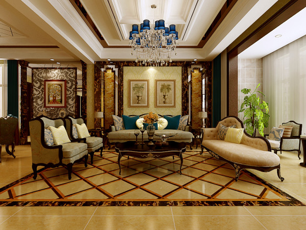 业之峰装饰为东胜紫御府做的四居室220平米的欧式客厅设计图