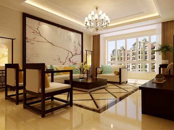 业之峰装饰为祥云国际146平米三居室做的新中式设计图