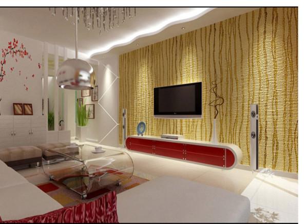 客厅白色的墙面,配合金色竖纹的电视背景墙与暖白色与红色的家具搭配