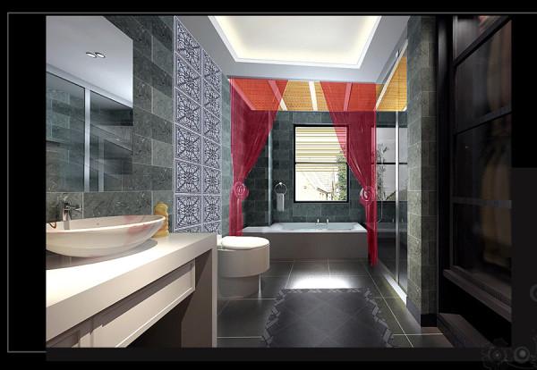 银基王朝中式风格280平方装修效果图【卫生间装修效果图】