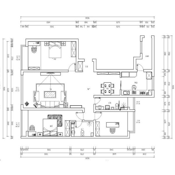 业之峰装饰为祥云国际146平三居室做的新中式户型图