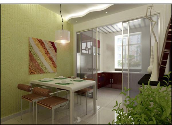餐厅合理运用分层式的吊顶搭配讲究造型比例适度的相呼应,餐桌运用现代风格的家具,玻璃式的隔断门让餐厅更加的宽松,绿色的背景墙面配以五谷的彩画