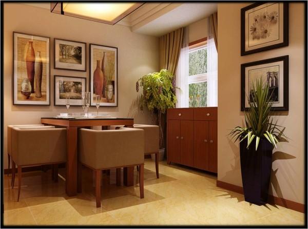 鑫苑世家三居室平层简约风格装修效果图 【餐厅设计效果图】