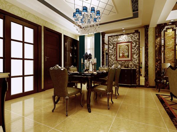 业之峰装饰为东胜紫御府做的四居室220平米的欧式餐厅设计图