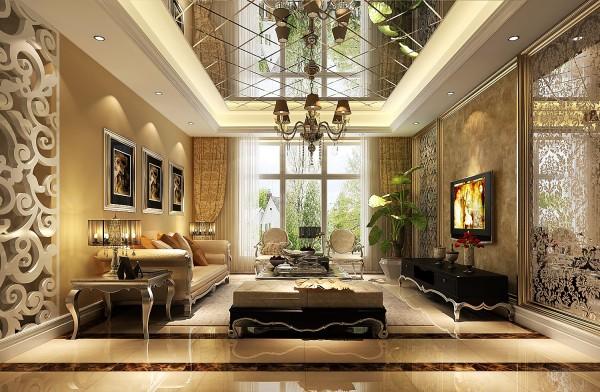 应客户的要求(有很多收藏的物品需要展示)所以在客厅区域做了展示柜的点缀,即通透又呼应了顶部及电视背景墙处理,复合整体的风格。客厅,是体现整体风格最明显的区域,欧式的沙发、欧式的展示柜的装饰品等。
