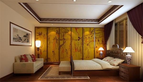大而不空、厚而不重,有格调又不显压抑。  客厅:中式风格的古色古香与现代风格的简单素雅自然衔接,使生活的实用性和对传统文化的追求同时得到了满足。