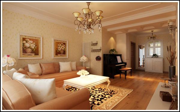 百家装饰新加坡城95平客厅效果图