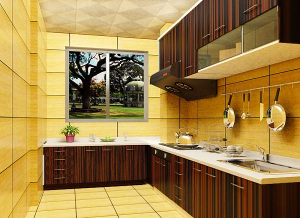 厨房合理运用具有视觉冲击效果的橱柜,使厨房更显活力,更加时尚。