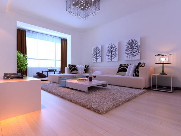 客厅大气、简约、为主基调,沙发采用最有现代风格代表的沙发,电视背景墙没有过多复杂的造型,简单但不缺乏时尚的气息,整个空间反映出了业主的自由奔放的个性和多元化的生活品味!