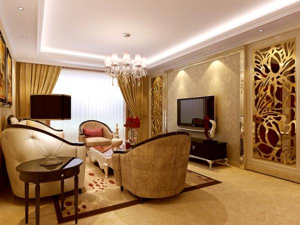 """本案设计师在其家具选择中,充分配合整体欧式风格设计选择极具欧式特色的现代家具。""""猫爪""""地柜、半圆皮质沙发,加之""""气质""""桌摆,整个空间显得高贵堂皇而又不失浪漫,雍雅大气而又不失俏皮趣味。"""
