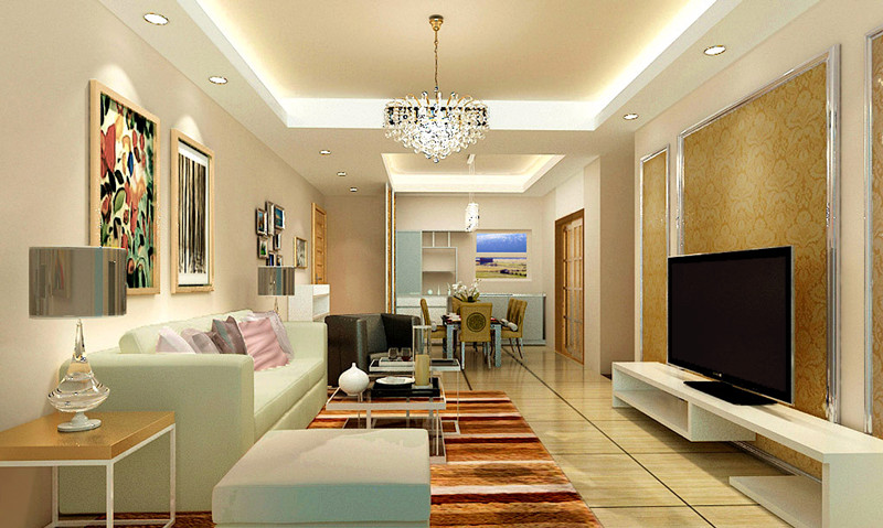 客厅将墙体全部粉刷为浅米黄色,电视背景墙则用金属画框搭配纹理较强
