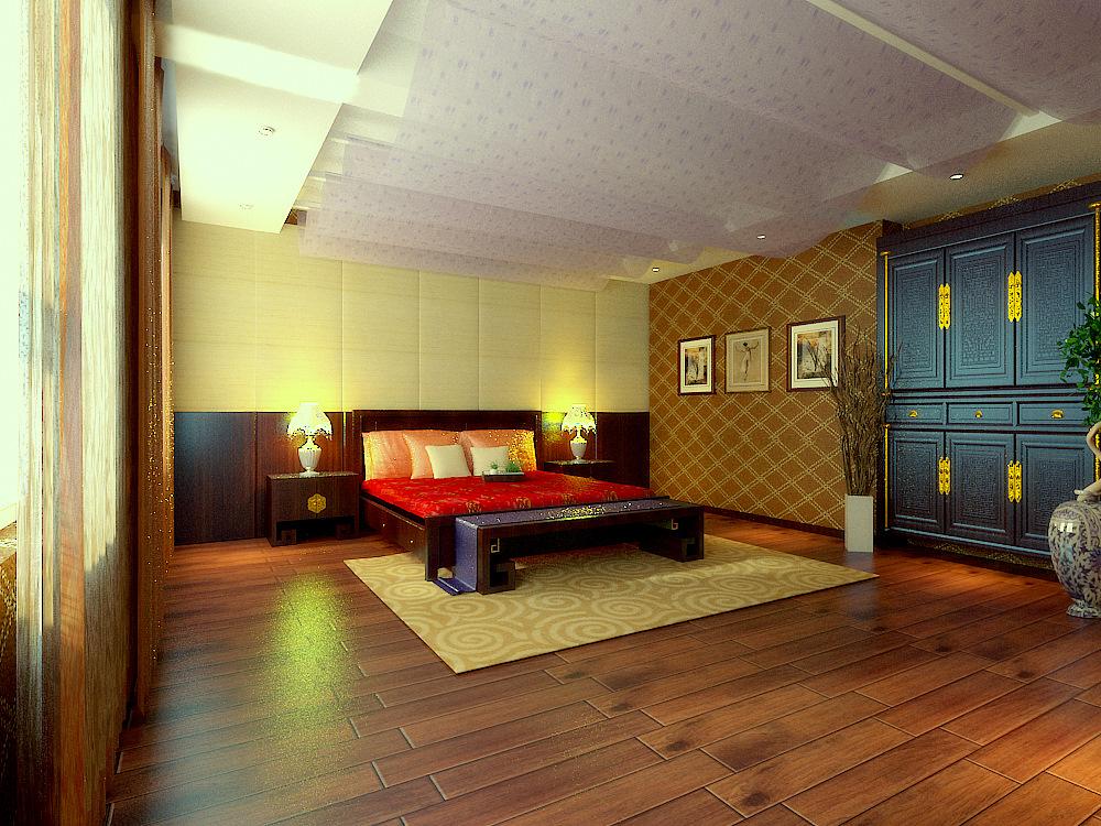 别墅中式卧室装修效果图片_装修美图-新浪装修家居网图片