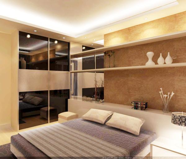 卧室床头背景墙和整个空间结合,是整个房间最有特色的地方。浅黄色的壁纸再配以烤漆玻璃,将整个房间的时尚气息显现得淋漓尽至。