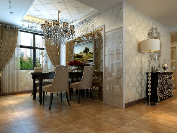 石材饰面的餐厅背景墙上茶色烤漆镜面的运用,水晶吊灯和西式风格挂画为餐饮空间添加了一丝丝温馨浪漫。