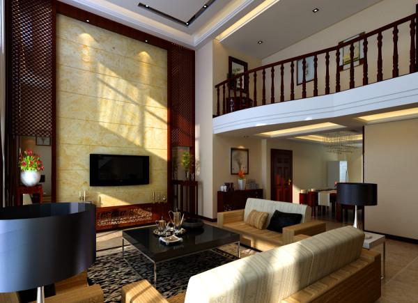 客厅电视背景墙上红木格栅和天然石材的相互映衬