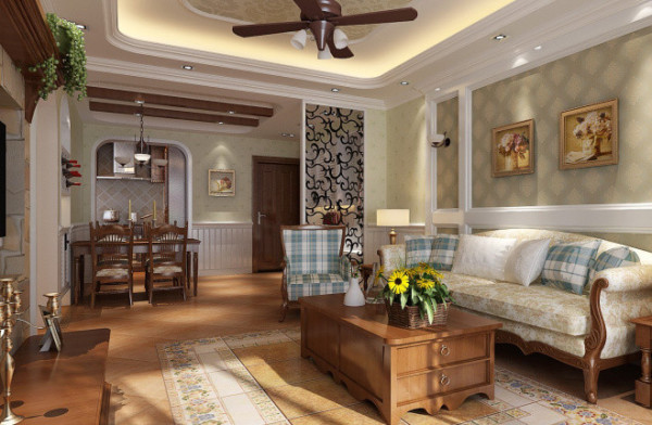 紫荆尚都100平美式田园风格-客厅效果图-沙发背景墙增添了田园氛围