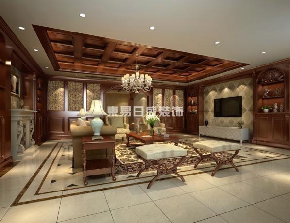 墙面以墙纸,石材,护墙板为主,公共部分地面铺拼花地砖,卧室地面铺实木地板。除餐厅与次卧其余房间吊顶全为美式成品吊顶。