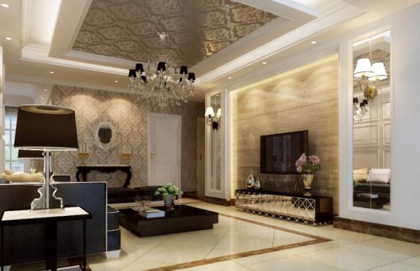 圣堤亚纳120平欧式风格-客厅效果图