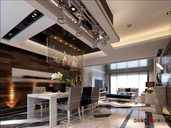 名雕丹迪设计—依云水岸别墅—现代风格—餐厅