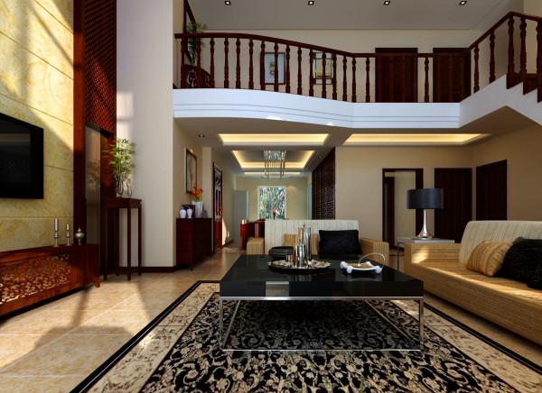 客厅空间红木色的楼梯,原木色的沙发加上现代感十足的茶几,让古典中式和现代简约风格完美的结合。