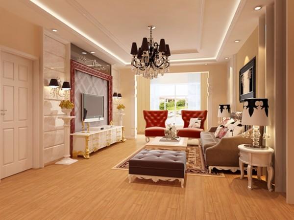 客厅,在电视背景与沙发背景的设计上采用了对称的手法,使整个空间变得更加和谐。