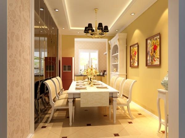 餐厅,整体采用白与黄的搭配,墙面主要是通过带色彩的乳胶 漆,质感漆,壁布来表现。