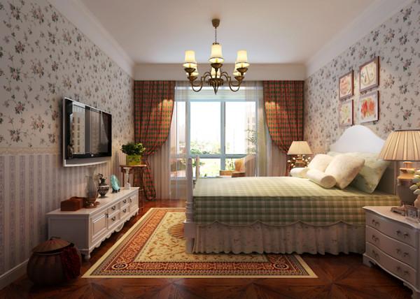 本案例为业之峰装饰为国仕山两居室做的婚房田园设计图