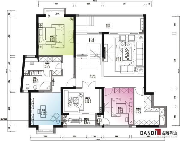 名雕丹迪设计—依云水岸别墅二层平面图