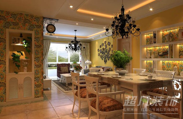 清华大溪地150平田园风格设计案例 吊顶及灯光的设计大大迎合了田园风格的氛围