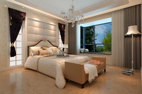 康平苑简中式-卧室效果图,精致的床头背景墙