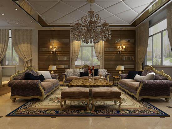 沙发背景墙上咖色的软包装饰和室内具有欧式风格特色的沙发相互衬托,从后期饰品的家居搭配中暗含主人惬意浪漫的追求。