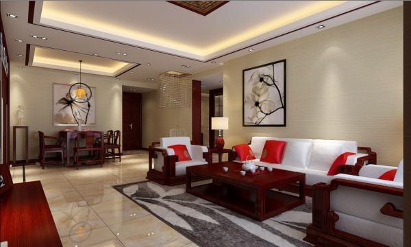 沙发背景墙却在醒目位置饰以韵味十足的画绝妙的组合给人以强烈的视觉意志力,成为时尚与古典的柔媚结合。