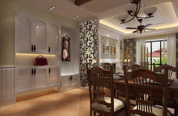 紫荆尚都100平美式田园风格-餐厅效果图