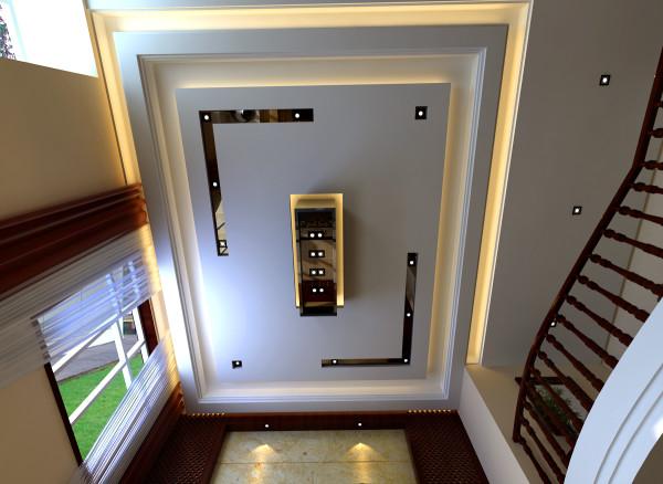 大厅空间抬头仰望简易的现代中式风格吊顶,让中式元素在不经意间穿透到你的生活之中。