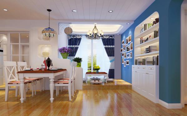 吊顶用石膏板做出桑拿板效果,墙面的蓝色与白色成为鲜明的对比,也很容易让人联想到蓝天白云。