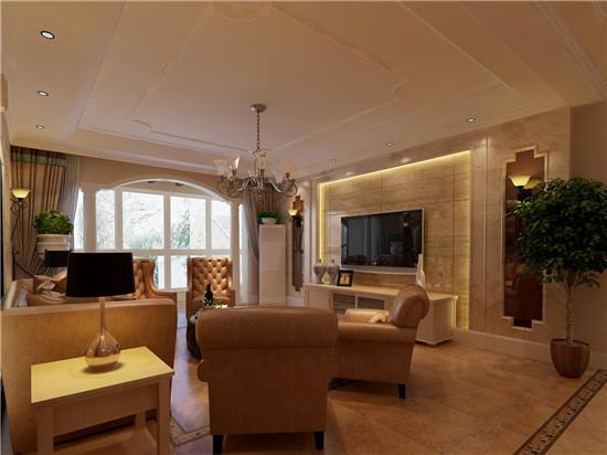 客厅电视背景墙采用仿石材地板砖