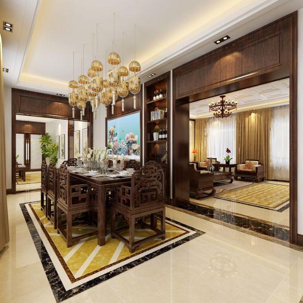 餐厅地板及餐厅灯光的配合接近完美