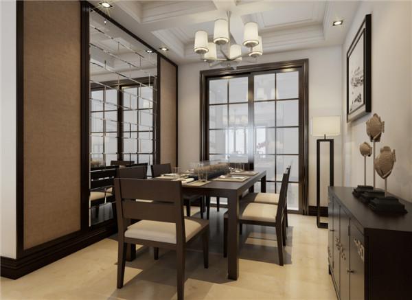 郑州实创装饰-国瑞城127平三居室-餐厅效果图