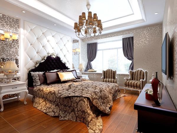 本案例位于郑州康桥金域上郡四居室190平方欧式风格装修效果图【卧室设计效果图】