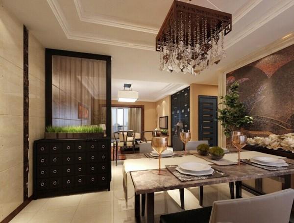 以简约的中式木格栅为装饰,再配以色漆为辅助,搭配简约家居,完美结合在一起