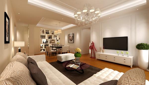 因为木地板的质感和颜色而变得温暖。家具上,沙发选用同样白色的布艺或者皮质沙发,搭配深咖啡的跳色处理,是整体空间有重量感和层次感。