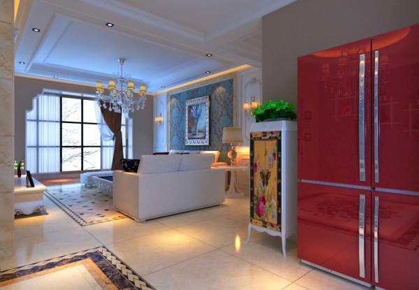 本案例位于郑州康桥金域上郡四居室190平方欧式风格装修效果图【餐厅装修效果图】