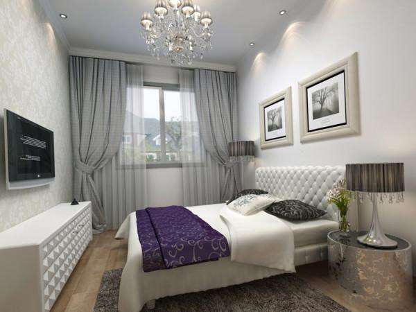 山顶御新城两居室简约风格装修设计效果图【卧室装修设计效果图】