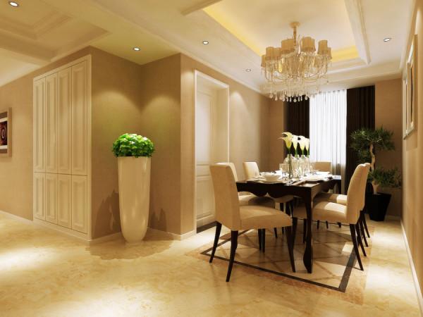 锦艺国际华都简约风格三居室装修设计效果图餐厅装修设计效果图