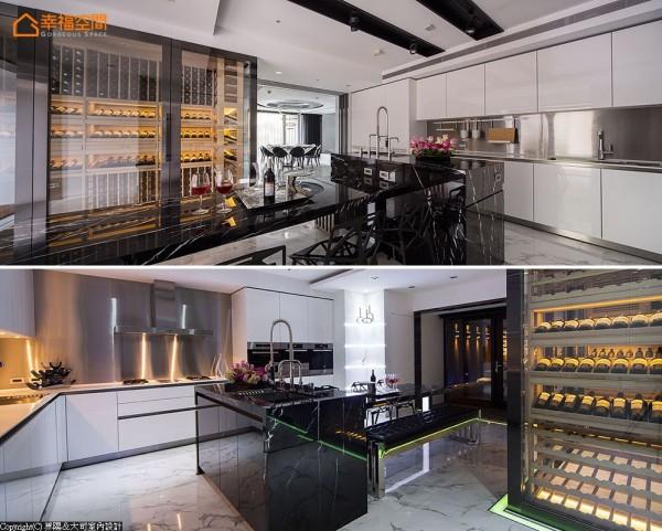 为千万价值的名酒珍藏,以特殊玻璃打造媲美世界级餐厅中的二十四小时恒温酒窖,成为难以忽略的一大焦点。